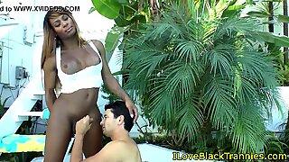 Outdoor ebony shemale receives a handjob