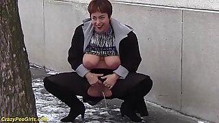 redhead bbw milf peeing in public