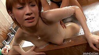 Chestnut Kaoru Amamiya gets hot muff diving in hot bathtub
