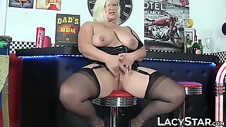 Big tits granny Lacey Starr doggystyle drilling after hot BJ