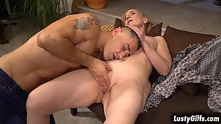 Naughty granny Nanney writes about sex articles and this hot stud Mugur is the perfect guy that gives her the best sex experience shes craving for.