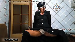 Lukerya as a police officer