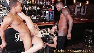 Classy milf interracial banged hard in bar